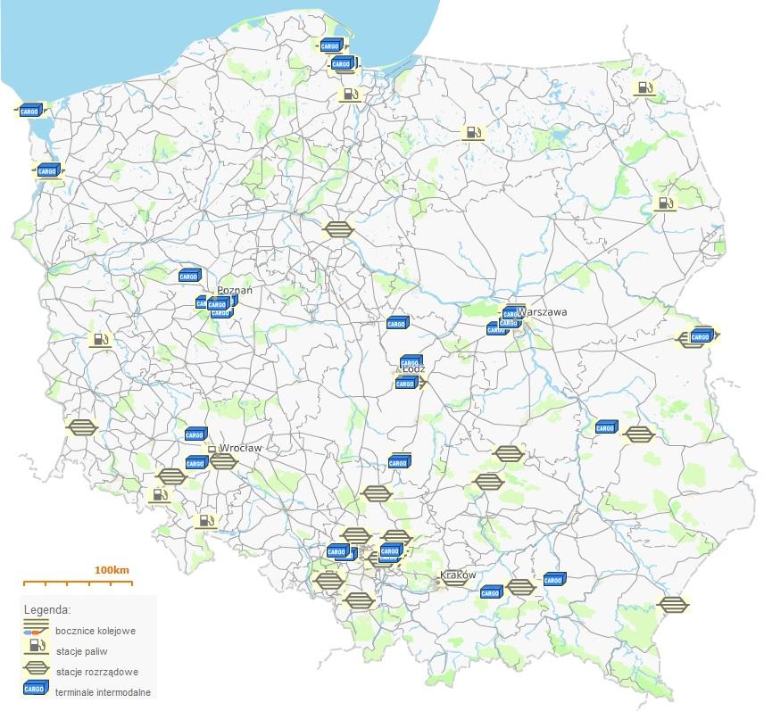 Mapa Obiektow Infrastruktury Uslugowej I Bocznic Kolejowych